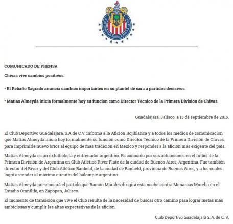 Comunicado oficial del Club Deportivo Guadalajara