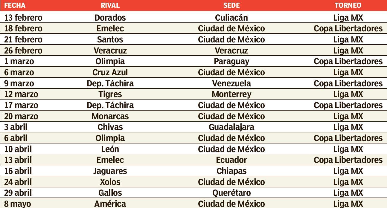 Desde el sábado y hasta el 8 de mayo, Pumas disputará 18 partidos ...