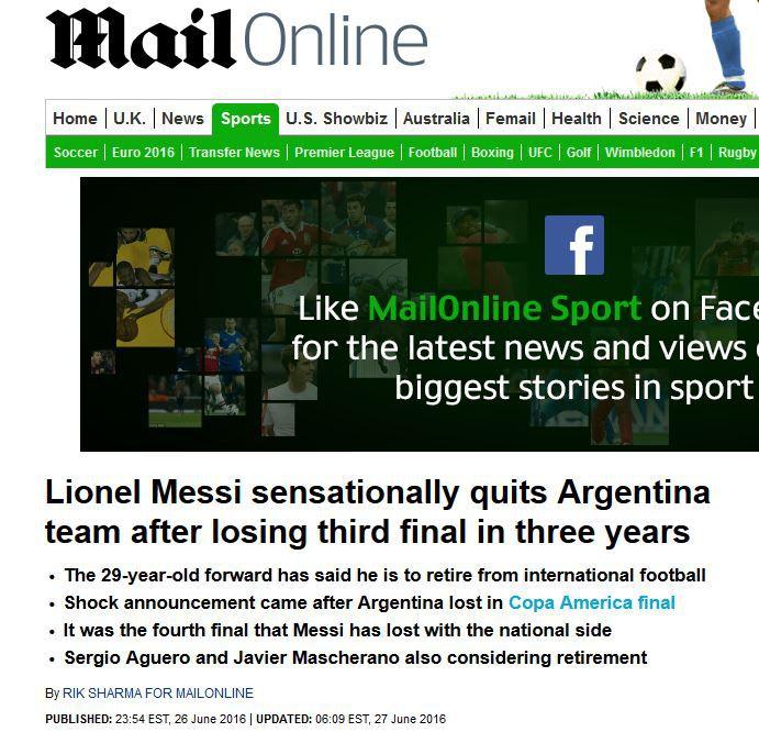 La prensa inglesa hizo hincapié en la salida de Lionel Messi de su selección