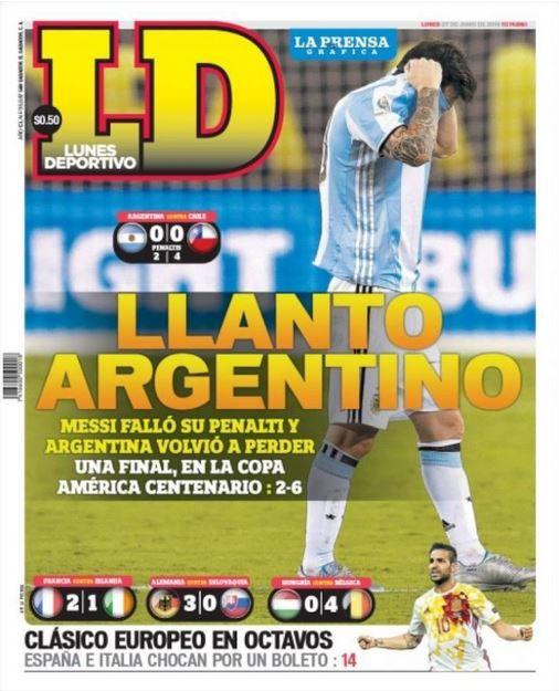 Los tabloides reconocieron que Messi no pudo dar el giro de tuerca a su selección