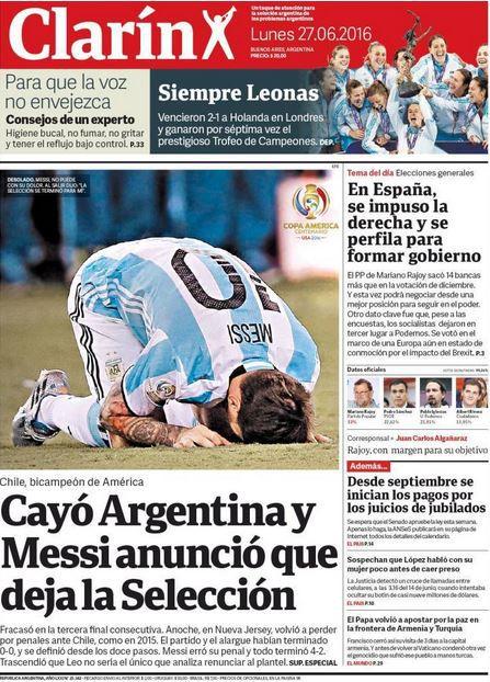 Messi anunció el retiro de su selección tras perder frente a Chile