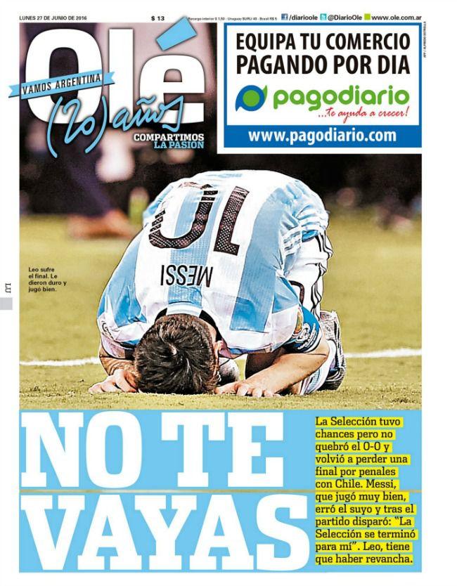 El diario argentino, Olé, pide que Messi se quede