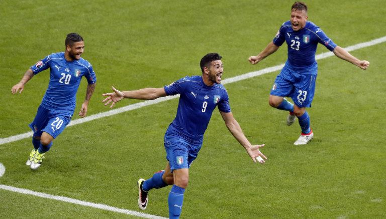 Thumbnail Italianos festejan gol de Pellé contra España
