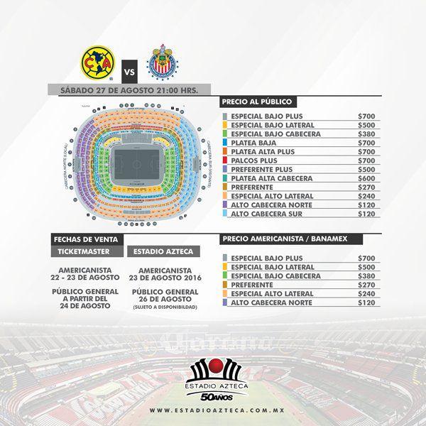 America anuncia precios para el partido vs Chivas