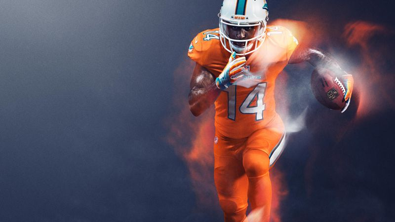 Uniforme Color Rush de los Delfines de Miami