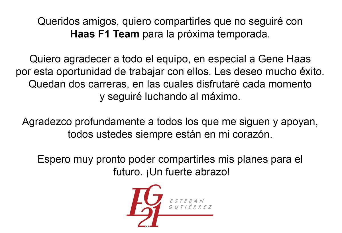 Mediante comunicado, Esteban Gutiérrez anuncia salida de Haas