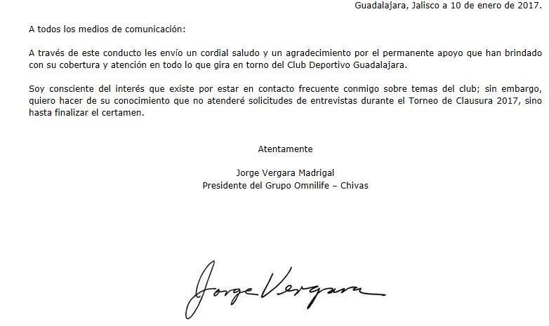 Comunicado de Jorge Vergara a medios