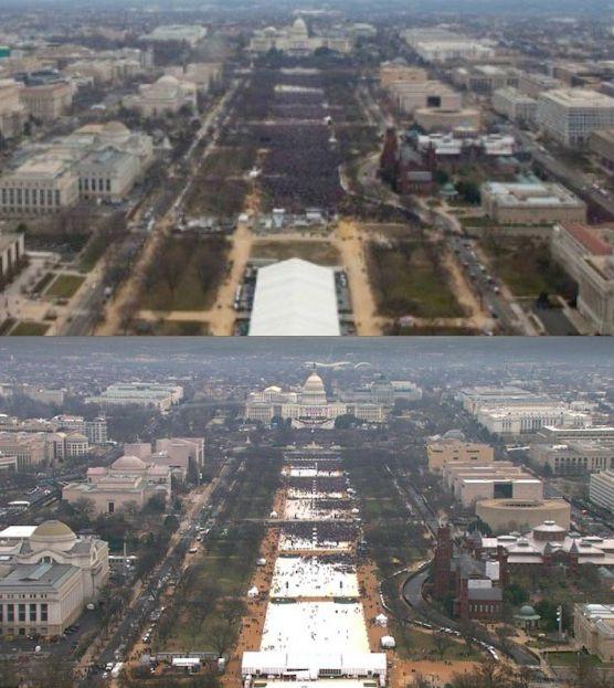 Asistentes a la toma de protesta de Obama (arriba) y Trump (abajo)