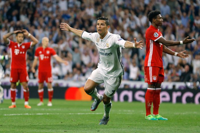 Cristiano Ronaldo celebra uno de sus goles frente al Bayern Munich