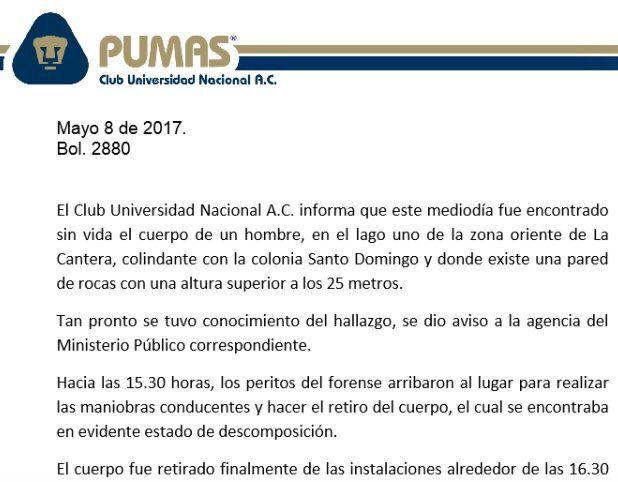 El comunicado por parte de los Pumas