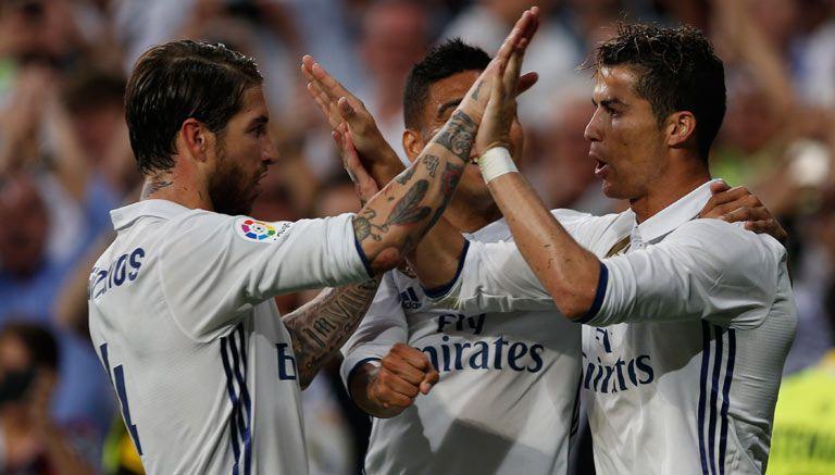 Cristiano y Ramos celebran un gol del Madrid