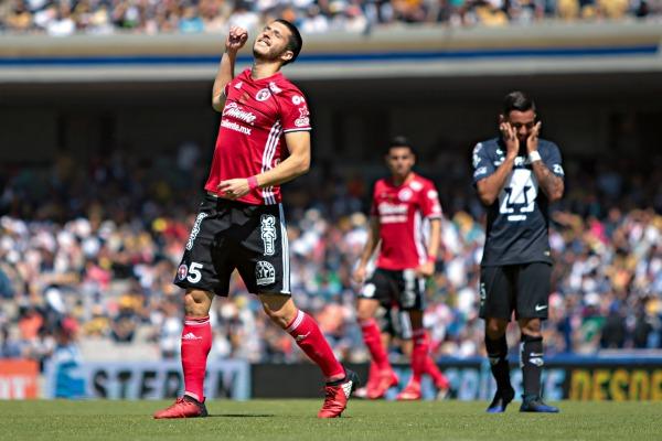 Rodríguez celebra un tanto suyo en un partido frente a Pumas en CU