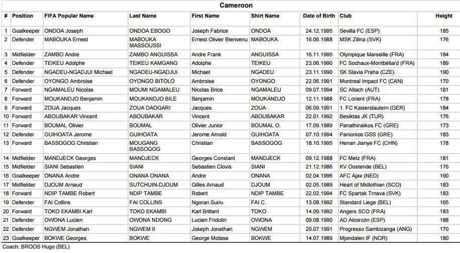Convocatoria de Camerún para Copa Confederaciones