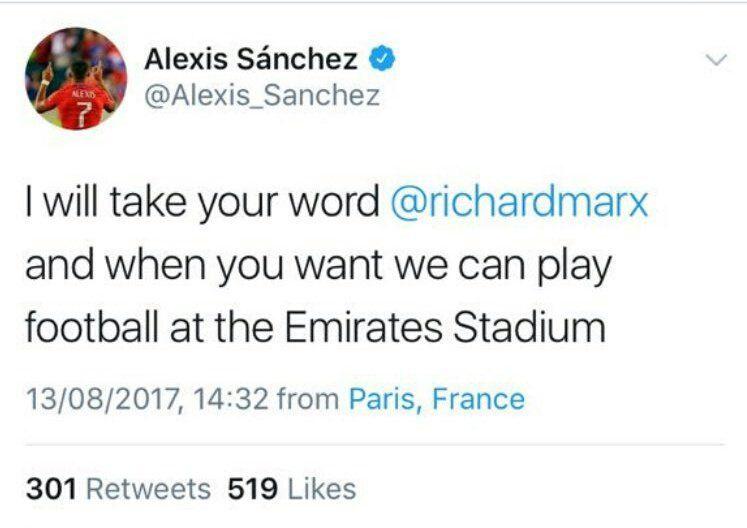 El Twitter delata a Alexis Sánchez: está en París