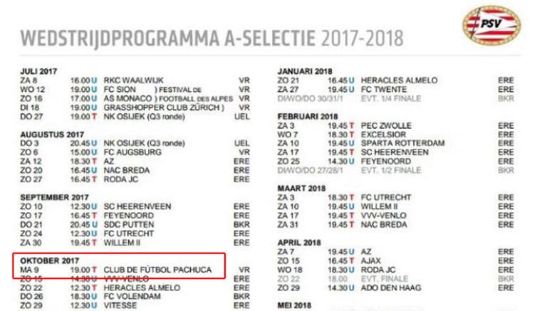 Calendario del PSV