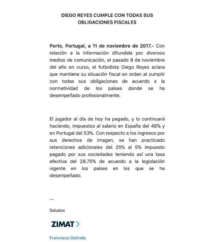 Diego Reyes se defendió tras ser acusado de evasión fiscal
