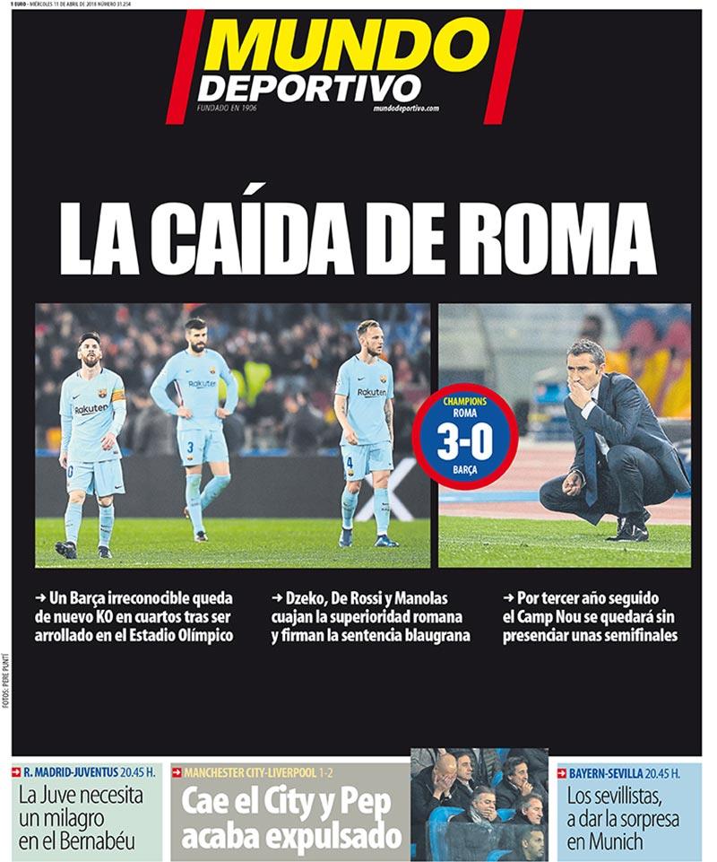 El tabloide aseguró que era la caída de Roma, pero era más bien la del Barcelona