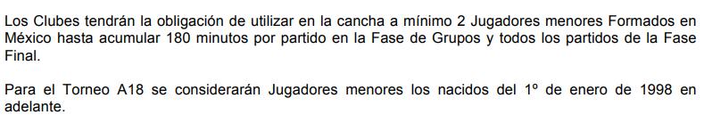 Fragmento del Art. 17 de Copa MX