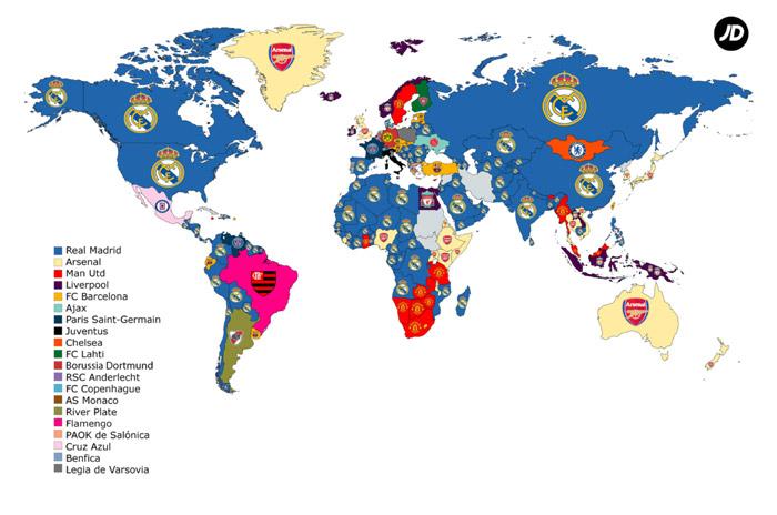 Mapa completo de los equipos más buscados
