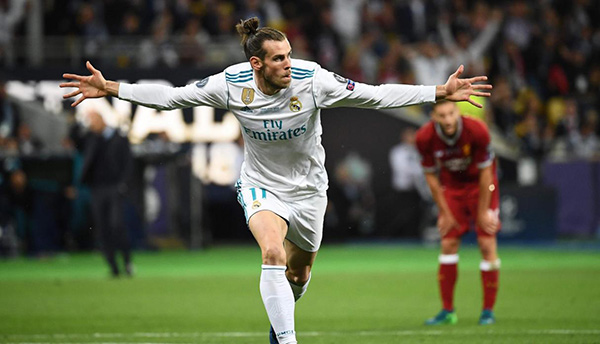 Bale festeja gol en la Final de la Champions League