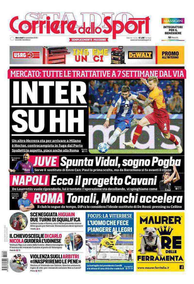 Así luce la portada del Corriere dello Sport del 14 de noviembre