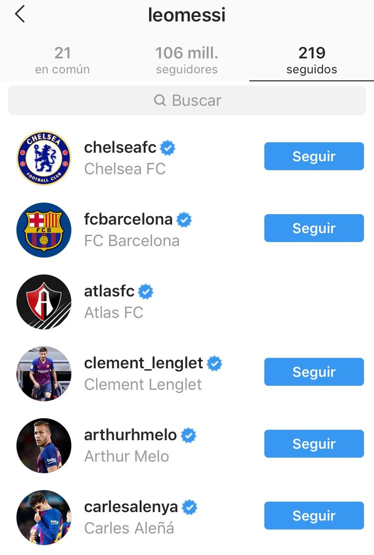 Messi sigue al Atlas en Instagram