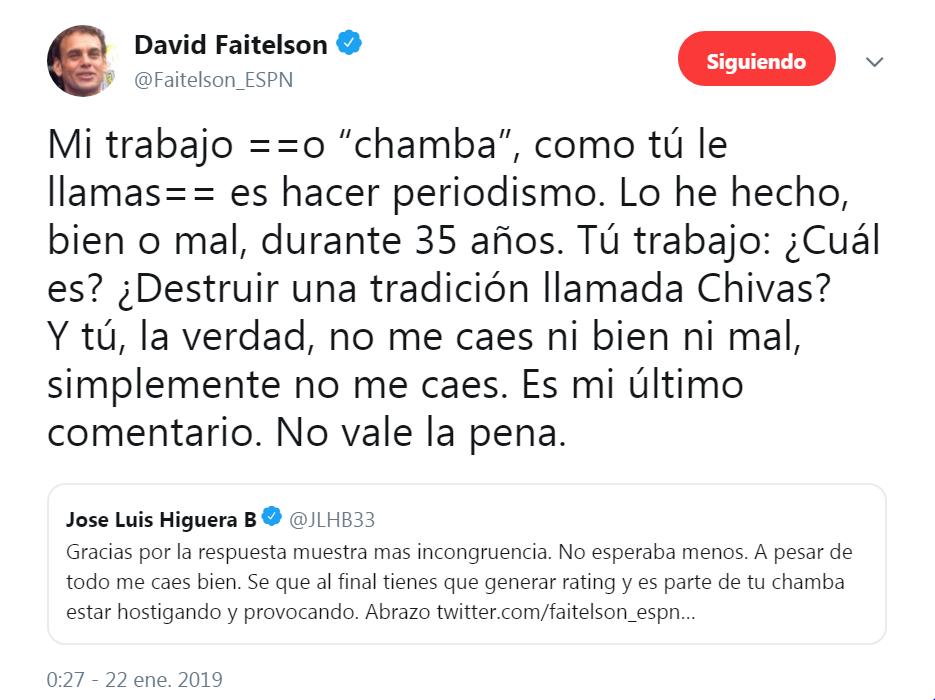 Último tuit de Faitelson a Higuera