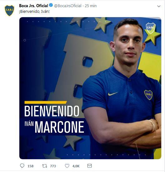 Bienvenida de Marcone al Boca Juniors