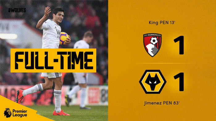 Marcador final del Bournemouth vs Wolves