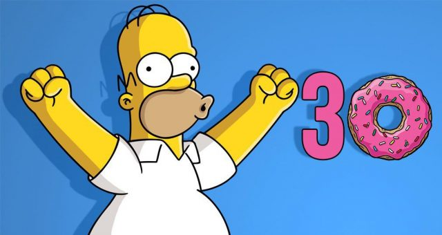 Homero festeja temporada 30 de los Simpsons