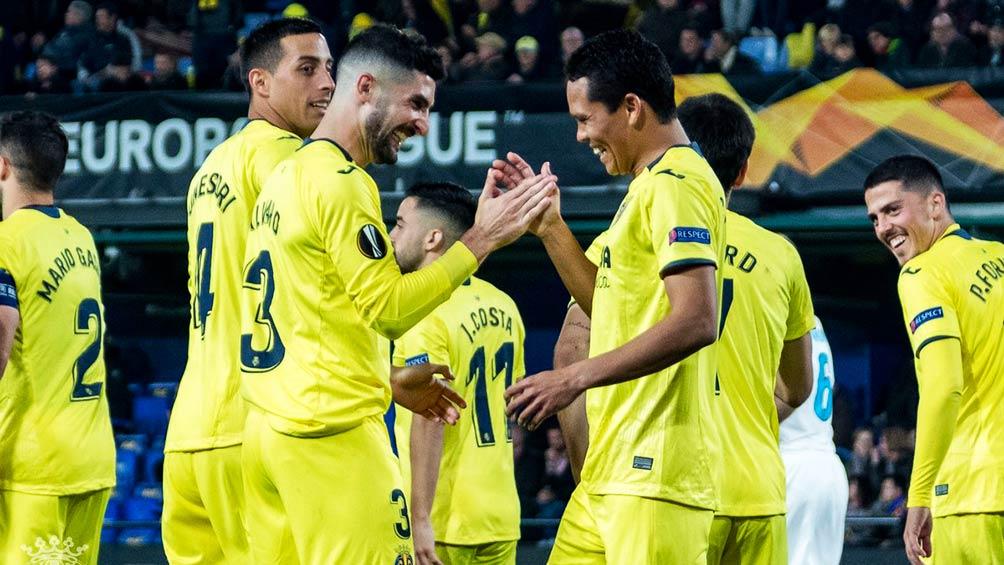 Los jugadores del Villarreal festejan un gol sobre el Zenit