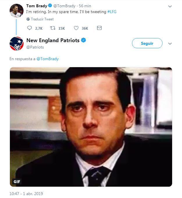 Respuesta de los Pats hacía Brady