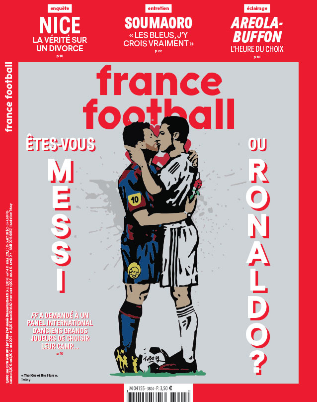 Messi y Ronaldo 'se besan' en la portada de France Football