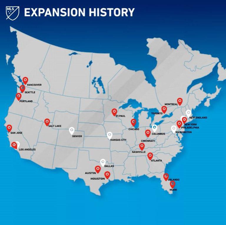 MLS anuncia planes de expansión a 30 equipos
