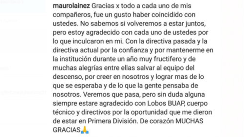 Mauro Lainez se despidió de Lobos BUAP