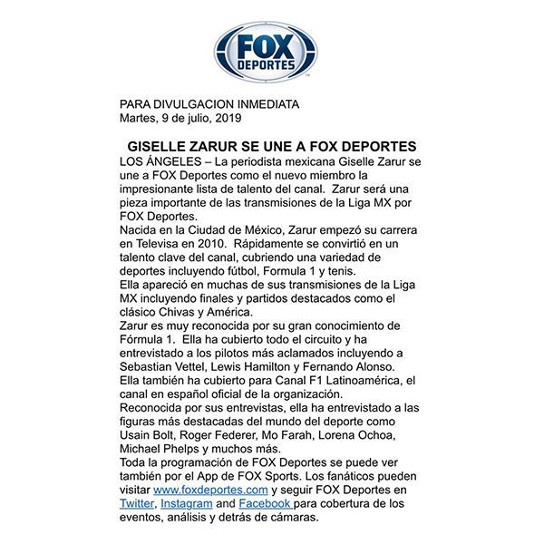 El comunicado con el que Fox Deportes anunció la contratación de Zarur