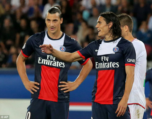 Zlatan Ibrahimovic and Edison Cavani as PSG players