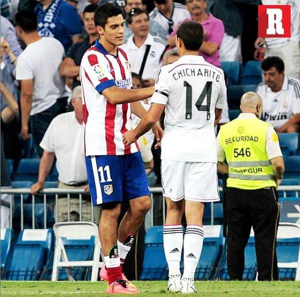 Raúl Jiménez y Javier Hernández en el Derbi madrileño