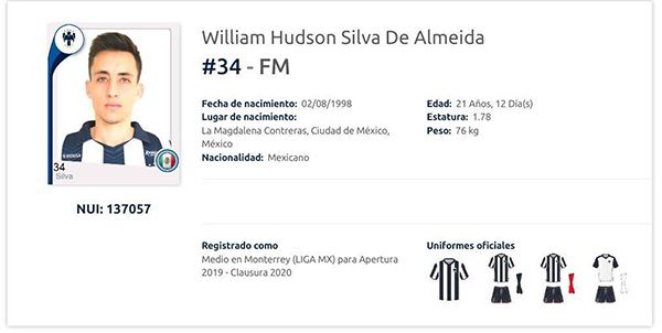 El registro de William Hudson Silva De Almeida