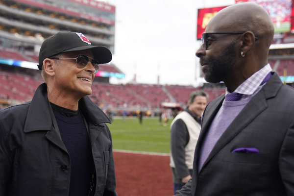 Jerry Rice y el actor Rob Lowe en el Levi's Stadium