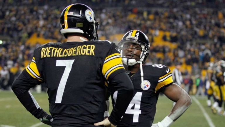 Antonio Brown y Ben Roethlisberger con los Steelers