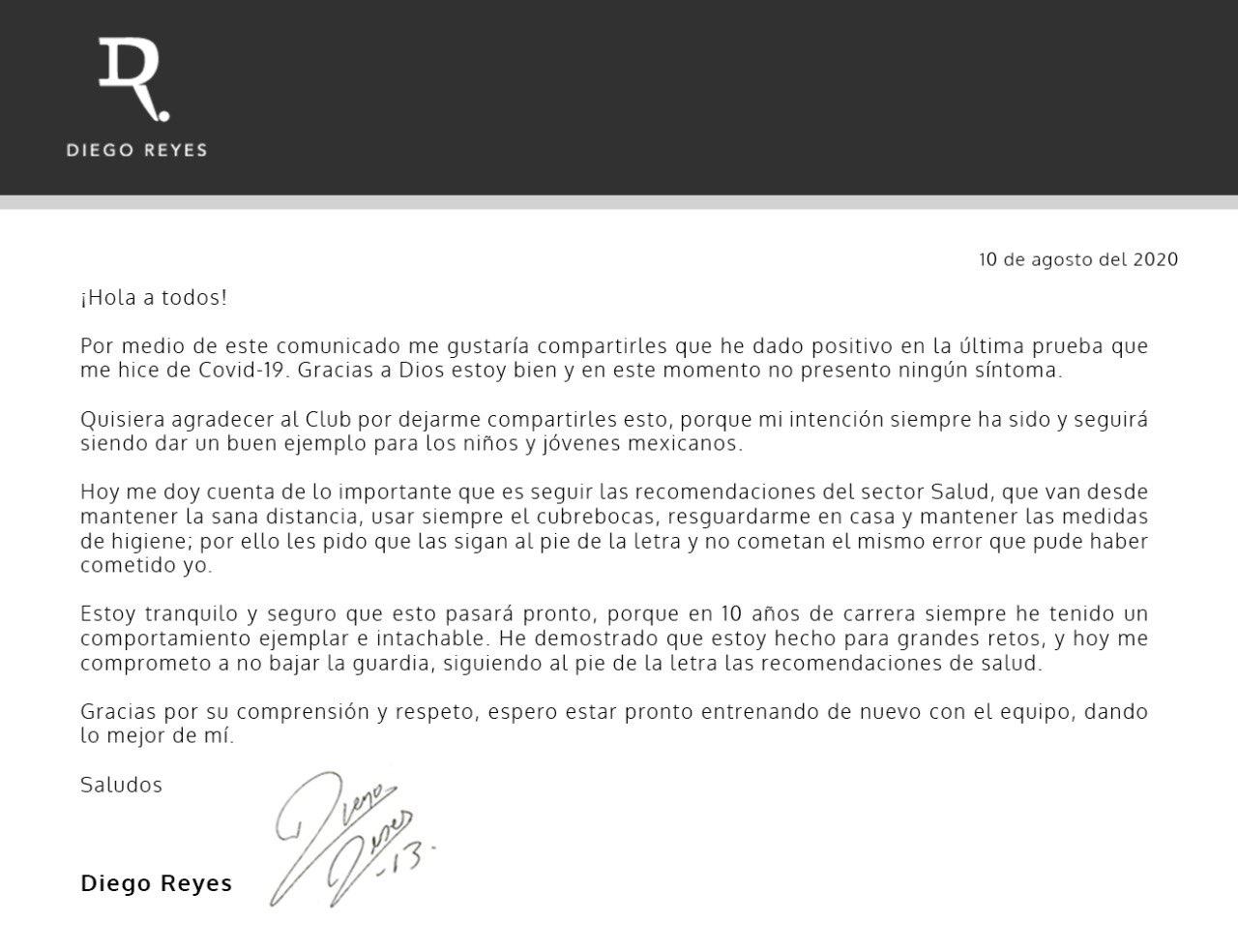 Diego Reyes revela que tiene Covid-19