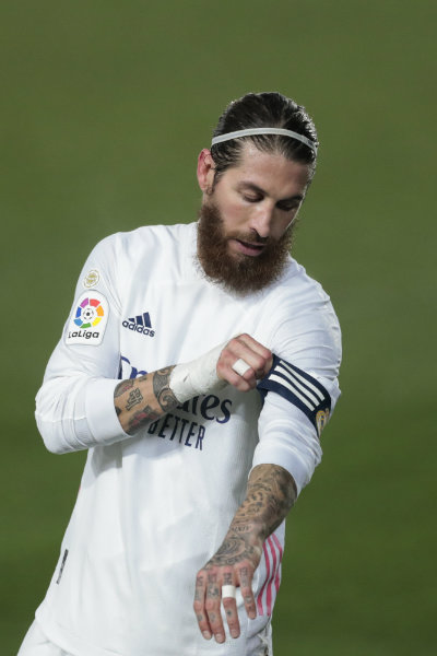 Sergio Ramos en acción con Real Madrid