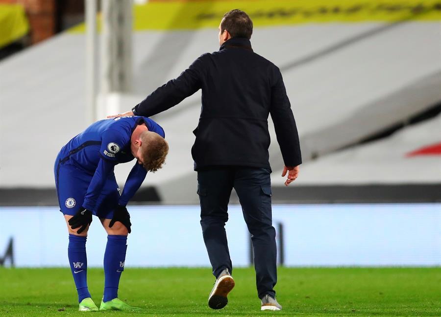 Frank Lampard et Timo Werner après une défaite