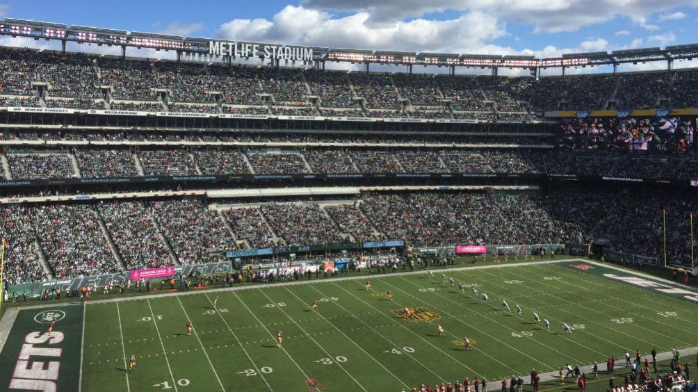 El Metlife Stadium con la decoración de los NY Jets