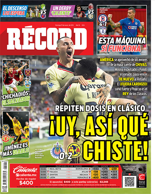 América repite dosis a Chivas