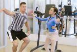 Rob Gronkowski y Natalia, bailarina del Miami City Ballet, practicando