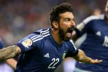 Ezequiel Lavezzi festeja un gol con Argentina en Copa América