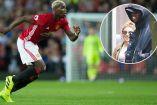 Pogba conduce el balón en un partido con el Man United