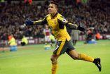 Alexis Sánchez festeja un gol contra West Ham